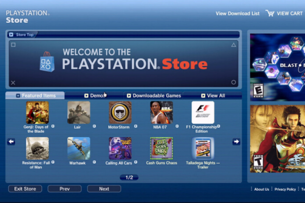 playstation network store online blue games console