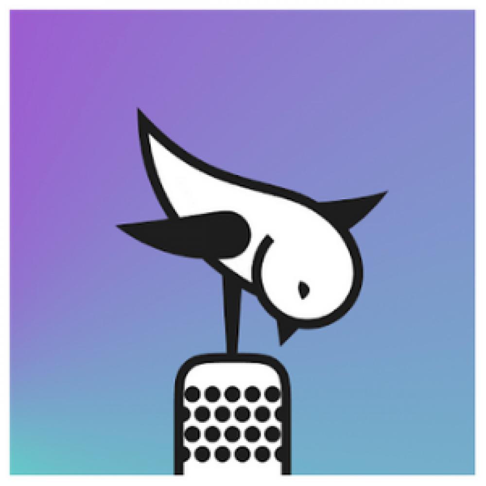 bird microphone purple blue gradient logo app store