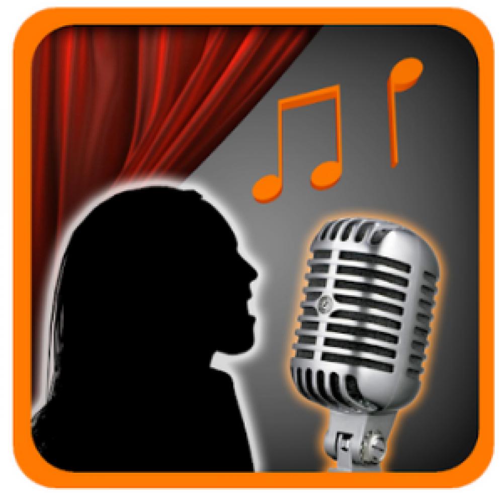 silhouette singing singer microphone curtain red orange black