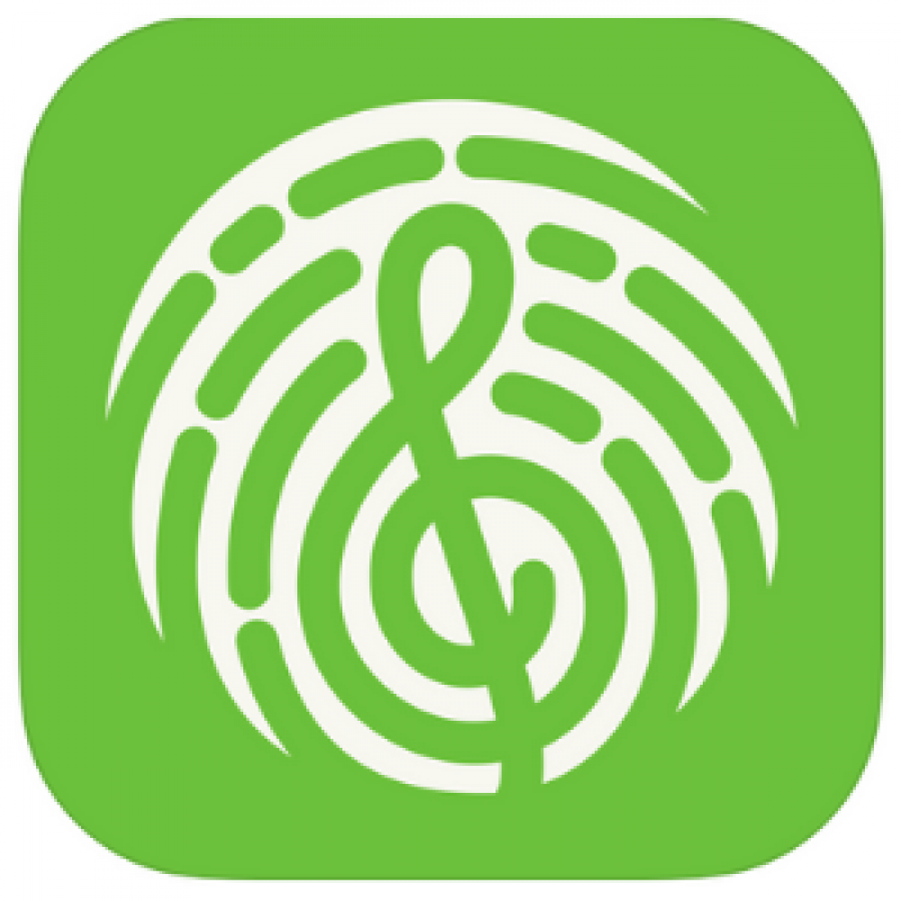 green finger print treble clef music app store logo