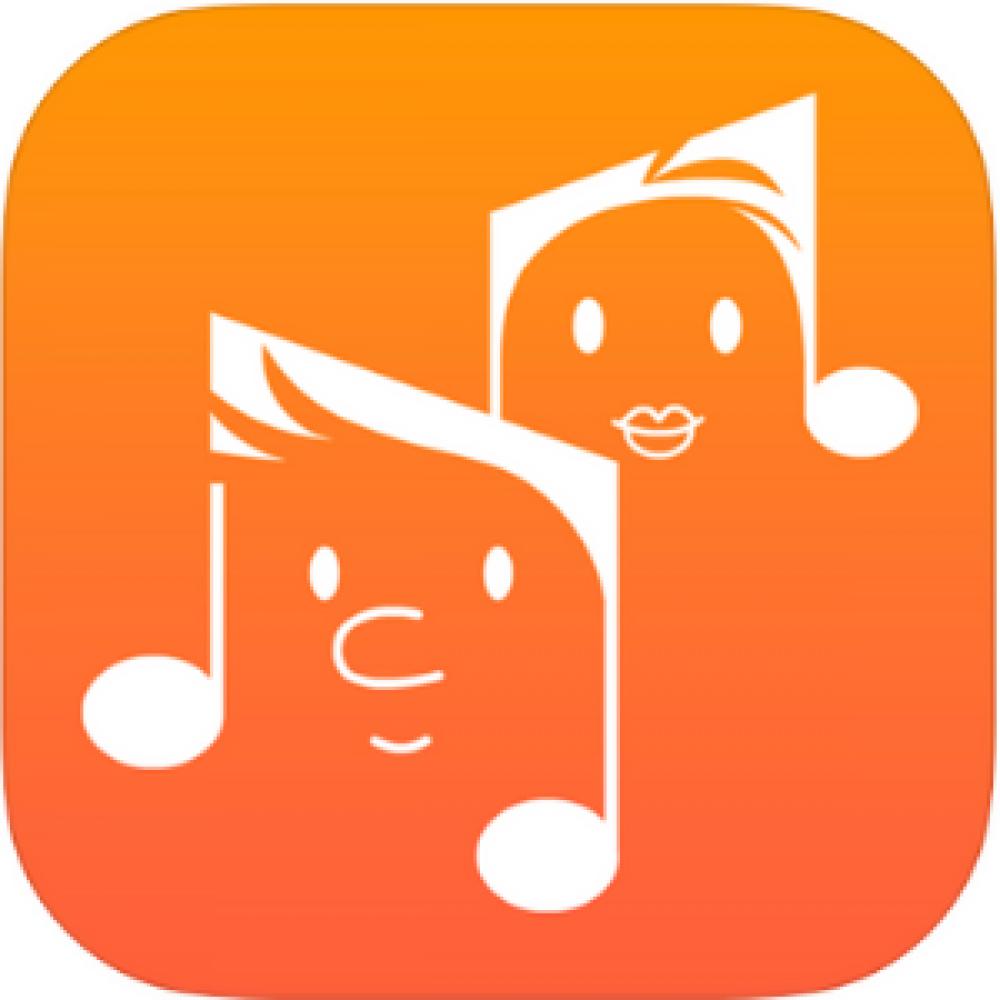 orange faces musical note music app store logo
