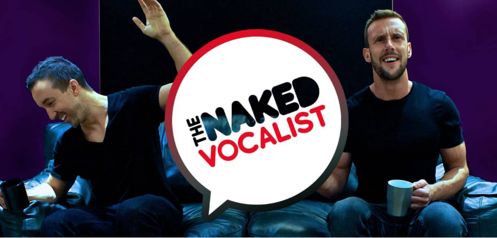 naked vocalist logo make black tshirt pose smile mug