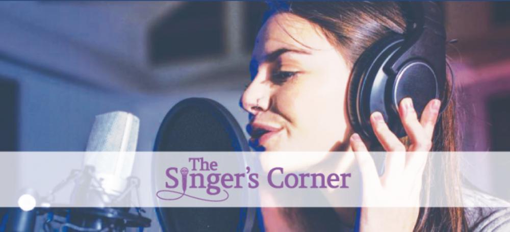 singers corner logo white banner girl singing singer recording studio microphone headset