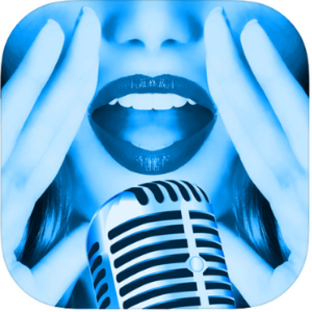blue singer microphone mouth woman