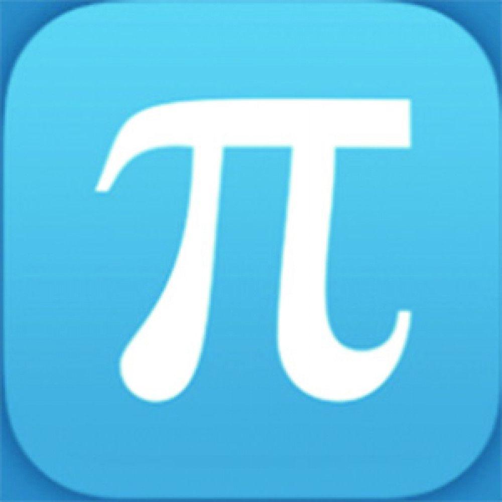 blue square white pi symbol logo app store