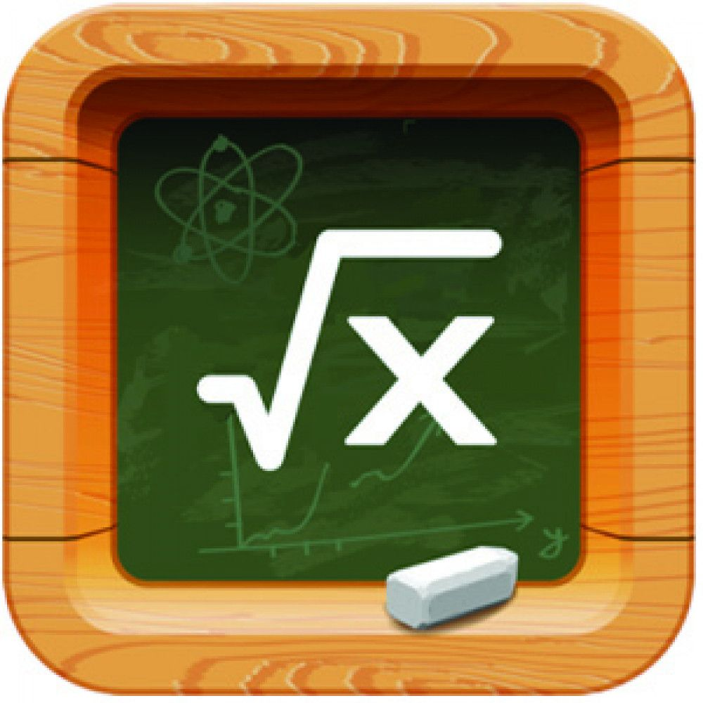 wooden frame blackboard green chalk maths symbol