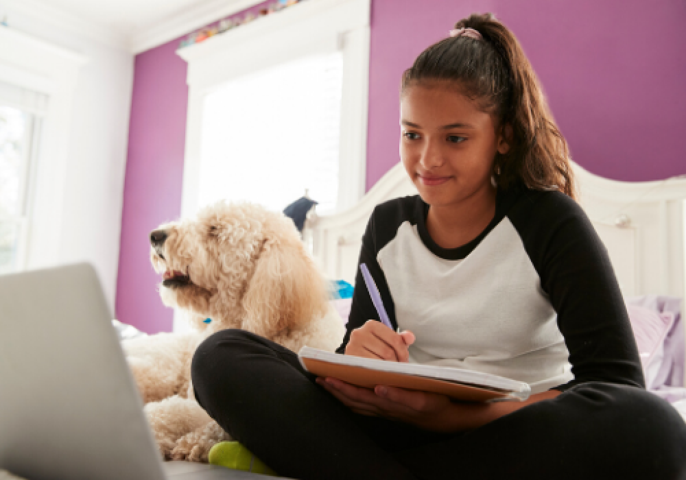 young-teen-girl-studying-on-bed-beside-pet