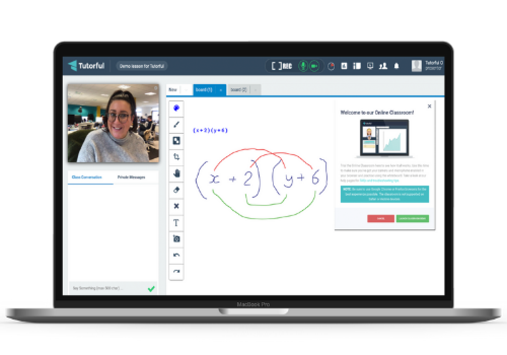 screenshot of online classroom
