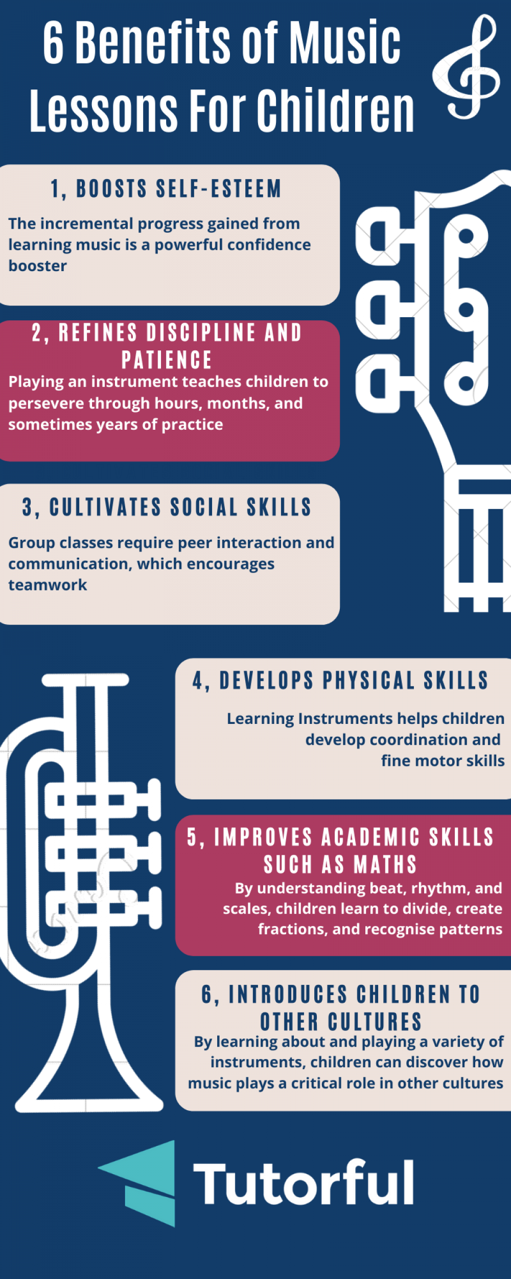 Infographic on 6 benefits of music lessons for children